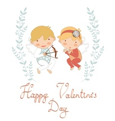 Valentines day greeting card with cupids vector image vector image