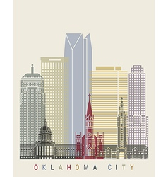 Oklahoma city skyline poster vector