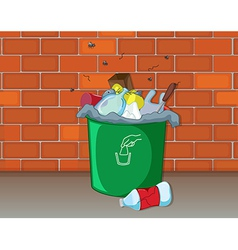 Dustbin in front of a wall vector