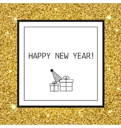 Happy new year christmas greeting card with gold vector