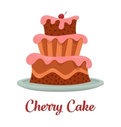 Cake with cream food bakery or dessert logo vector