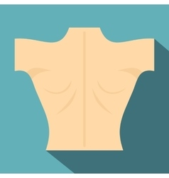 Naked human back icon flat style vector