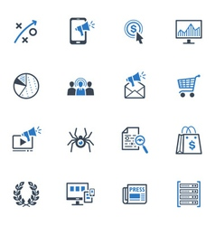 Seo and internet marketing icons set 3-blue series vector