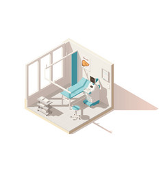 Isometric low poly ultrasound room vector