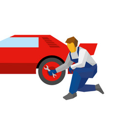 mechanic with wrench repair red sport car vector image