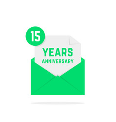 15 years anniversary icon in green letter vector image vector image