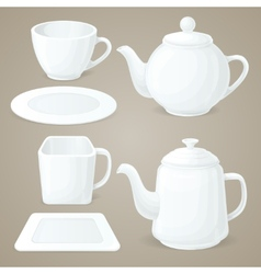 White crockery set vector