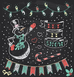 Vintage christmas chalkboard hand drawn set 3 vector