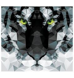 Geometric polygon white tiger head triangle vector image