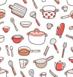 Kitchenware and cooking utensils red palette vector
