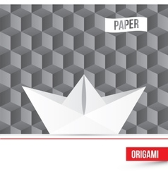 Paper origami boat icon on 3d cube vector
