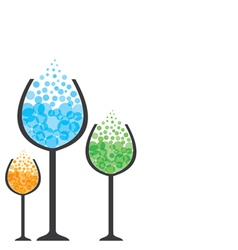 Colorful drink in wine glass vector