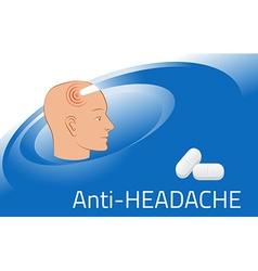Headache relief medicine medication packing design vector