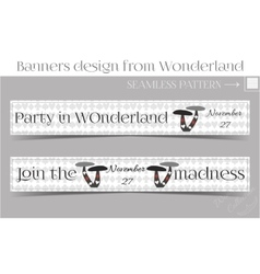Banners Party in Wonderland - Mushrooms vector image