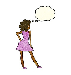 Cartoon woman posing in dress with thought bubble vector