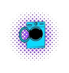 Washing machine icon comics style vector image