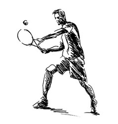 Hand sketch tennis player vector
