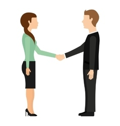 Businessman and businesswoman handshake isolated vector