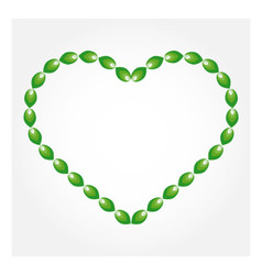 Big heart with green leaves vector image