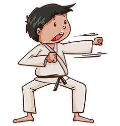 A plain drawing of a martial arts artist vector