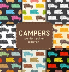 Auto travel seamless patterns collection vector