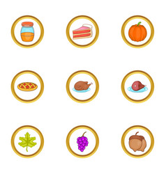autumn holiday icons set cartoon style vector image