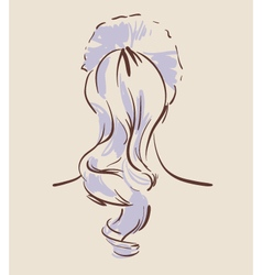 Beautiful woman hairstyle view from back vector image vector image