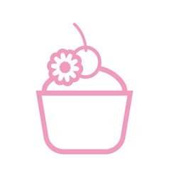 Card with a pink cream cake with a cherry on top vector image vector image
