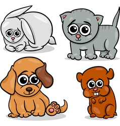 cartoon cute pets animals set vector image