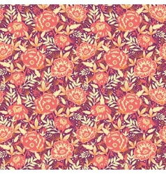 Golden flowers and leaves seamless pattern vector image vector image
