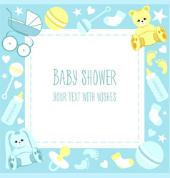 Greeting baby shower card vector
