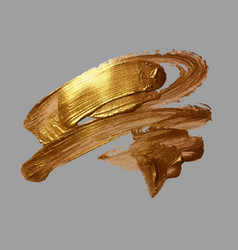 hand drawing gold brush stroke vector image