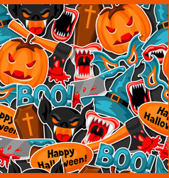 happy halloween seamless pattern with cartoon vector image vector image