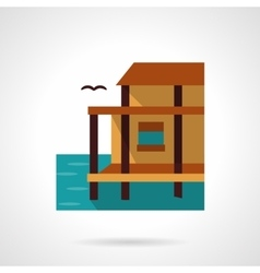 Lake house flat color design icon vector