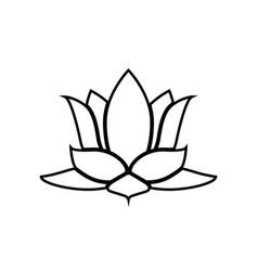lotus flower black color icon vector image vector image