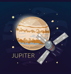 planet jupiter and spacecraft vector image vector image