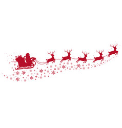 santa on sleigh and with reindeers vector image