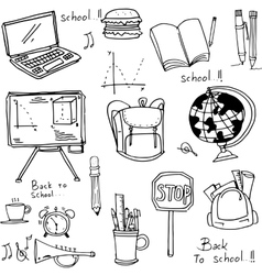 School education doodles hand draw vector