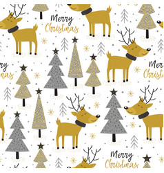 seamless pattern gold christmas trees and deer vector image vector image