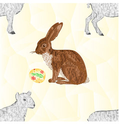 Seamless texture easter bunny and easter eggs vector