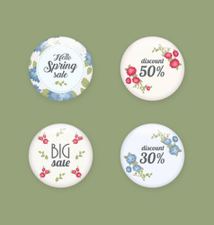 Set of glossy sale buttons or badges product vector