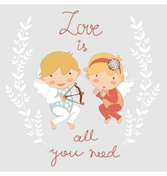 Valentines day card with two cupids vector image vector image