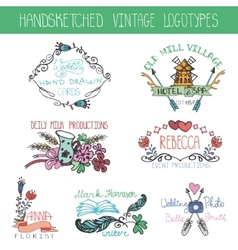 Vintage floral logotype setdoodle hand drawing vector