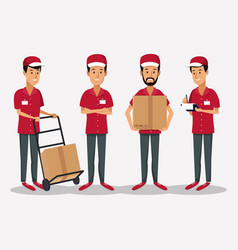 white background with group men worker with hand vector image vector image