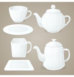White crockery set vector image