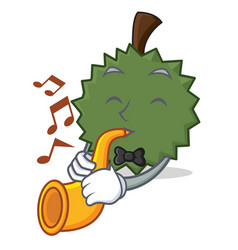 with trumpet durian mascot cartoon style vector image