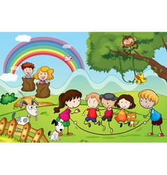 animals and kids vector image