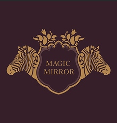 Creative emblem of the magic mirrorzebra vector