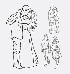 Love couple romantic activity sketches vector