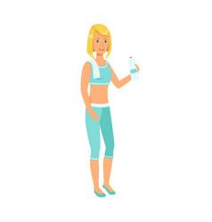 woman drinking water dressed in sportswear vector image